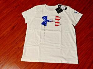 Under Armour Women's XL Freedom Stars & Stripes USA America T-Shirt NEW TAGS!!