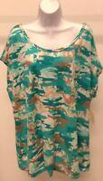 NWT Bobbie Brooks Women's Multi-Color Camouflage Top Shirt Size: L