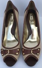 "Womens Naturalizer Beige Brown Leather  Peep Toe 3"" Heel Pumps Size 9.5 M Buckle"