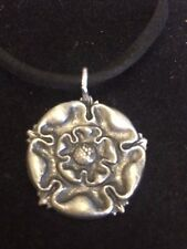 "TUDOR ROSE DR54 Made From Fine English Pewter On a 18"" Black Cord Necklace"
