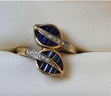 Sapphire Diamond Leaf Retro Ring