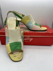 Vintage 1970's Women Sandal Pump Pastel Block Sz 8 (#308)