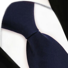 TigerTie Security Satin Seidenkrawatte in blau dunkelblau uni mit Gummizug