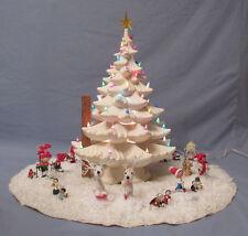 "HUGE VINTAGE ATLANTIC MOLD LIGHT UP CERAMIC CHRISTMAS TREE SKIRT COVER 22"" SNOW"