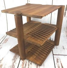 Kalmar Mid Century Modern Teak Wood Cassette Tape Holder Organizer Tower