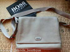 NEW HUGO BOSS MENS BEIGE SHOULDER MESSENGER HOLDALL LEATHER JEANS CARRY CASE BAG