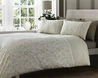 DOUBLE BED DUVET COVER SET LACE EFFECT NATURAL 300 THREAD COUNT LUXURY FLORAL