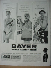 1961 Bayer Aspirin Pain Relief Medicine Adults + Children Vintage Print Ad 10292