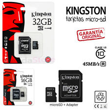 Tarjeta MicroSD Kingston 16 o 32GB 10 ORIGINALES - Memoria Micro SD GB Class