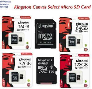 Kingston Canvas Select Micro SD Memory Card Class10 - 16GB, 32GB, 64GB, 128GB UK