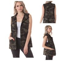 Women's Military Army Camo Lightweight Pocket Draw string jacket Vest