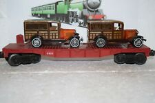 O Scale Trains Lionel Unletterd Flat Car 6810 w/ two Ford Model A's
