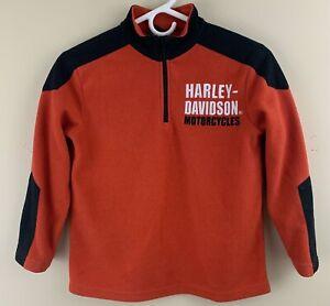 HARLEY-DAVISON Boy's Embroidered 1/4 Zip Fleece Pullover Shirt Size 8/10