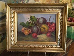 Vintage Original French Still Life Oil Painting Framed Fruit