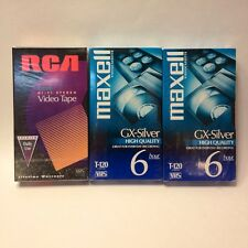 Sealed! 3 VHS T-120 PREMIUM Blank Video Cassette Tapes 6 Hr (2 Maxell/1 RCA)