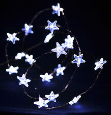 White 20 LED Star String Lights AA Battery Operated Xmas Party Craft Decorations