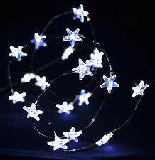 White 20 LED Star Copper Wire Fairy Lights AA Battery Operated Xmas Decoration