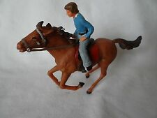 Vintage Elastolin Brown Horse Equestrian Rider Blue Painted Galloping Running