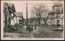 MONTPELIER VT State Street Post Office 1927 Flood Wreckage Vintage B&W Postcard