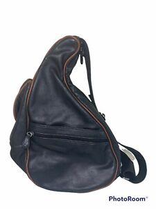 AMERIBAG Black Leather Small Healthy Back Bag Sling Purse