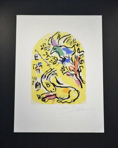 Marc Chagall, Lithograph, yellow topped with bird imagery. Hand signed, with COA