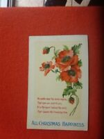 Antique ALL CHRISTMAS HAPPINESS  POPPIES POSTCARD POSTALLY USED