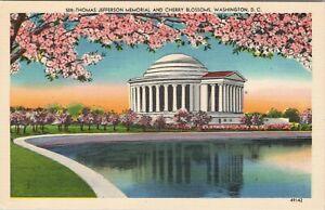 Linen postcard, Thomas Jefferson Memorial and Cherry Blossoms, Washington , DC