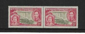 1937 South Rhodesia - King George V1 Coronation - Horizontal Pair - MNH.