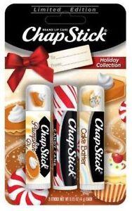 LTD Chapstick Holiday Collection Lip Balm Pumpkin Pie, Candy Cane & Sugar Cookie