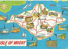 ISLE OF WIGHT MAP;1975 VINTAGE POSTCARD  P/M BOURNEBOUTH POOLE