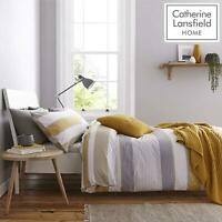 Catherine Lansfield Newquay Stripe Ochre Duvet Set Reversible Bedding Curtain