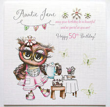 Personalised Owl Birthday Card Auntie, Niece, Sister, 40th 50th Any Age