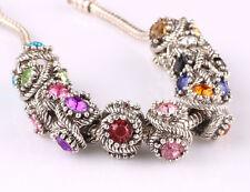 10pcs mix LAMPWORK CZ big hole spacer beads fit Charm European Bracelet B586