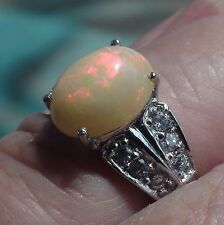 NATURAL! 3.0 CT ETHIOPIAN OPAL, ZIRCON RING,925 STERLING SILVER. SIZE 7.5.