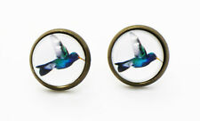 Hummingbirds Stud Earrings Beautiful Blue Birds Bird Wedding Bridesmaids Earring