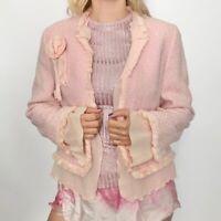 Escada Womwn pink tweed silk rose blazer jacket