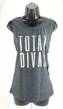 "Tapout Womens Activewear Tank Top Sz M Workout Silver -""Total Divas"" Graphic Top"