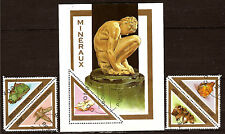 BENIN 1 blocco & 4 francobolli : marmi di minerali,quarzo,malachite , 82m132a