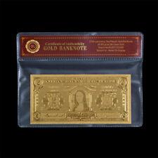 Wr Collectible Gold Foil Costa Rica 2 Banknote with COA Frame for Rare Souvenir