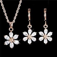 Set di gioielli in oro placcato Set di orecchini in cristallo con fiore strass C