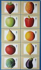 Set of 10 PHQ Stamp Postcards Set No. 251 Fruit and Vegetables 2003 CS4