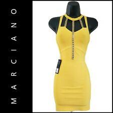 Marciano Women Sleeveless Beaded Body Con Cocktail Party Dress XXS Yellow Nwt