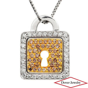 Estate 1.05ct Brown Diamond 18K Two-Tone Gold Lock Pendant 5.5 Grams NR