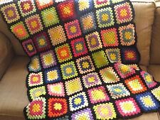 VTG Granny Square Crochet Wool Afghan Lap Throw Handmade Knit 40x52 Quilt Black