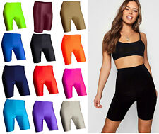 Ladies Womens Super Stretch Shiny High Waist Cycling Shorts Dancing Shorts 6-22
