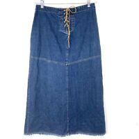 Carolina Blues Size 12 Long Denim Jean Skirt Lace Up Fray Hem Modest Slit Boho