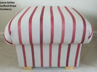 Storage Footstool Laura Ashley Luxford Stripe Cranberry Red Fabric Pouffe Beige