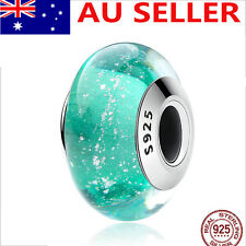 S925 Solid Sterling Silver European Green Murano Glass Charm bead 3#