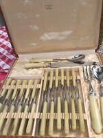 Vintage French Flatware Silverware Ivory Real Deer Horn Knife Set Midcentury