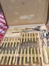 Vintage French Real Blond Horn Knife Serving Utensil Set Stainless Midcentury